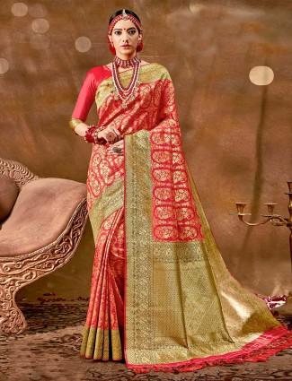 Stately pink banarasi silk saree for wedding functions