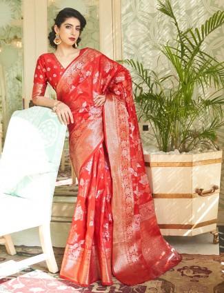 Stately red banarasi silk saree for wedding functions