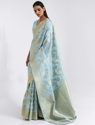 Stately sky blue festive cotton linen saree