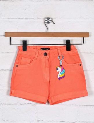 Stilomoda dusty orange denim solid shorts