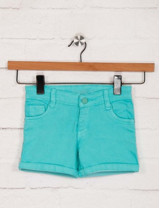Stilomoda presented solid aqua shorts