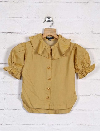 Stilomoda solid mustard yellow cotton top