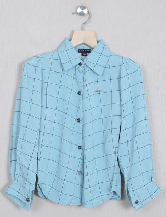 Stilomodo aqua hue chexs shirt in cotton