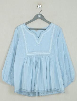 Stone blue cotton casual top for pretty women
