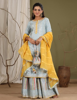 Stone blue cotton festive wear punjabi style sharara suit