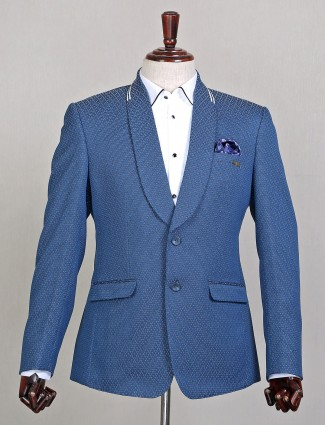 Stone blue shade wedding wear textured style blazer for mens