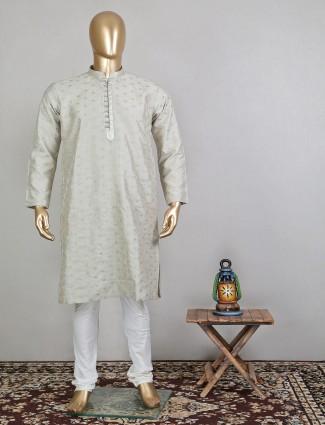 Stone grey raw silk kurta suti for festive season