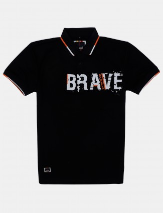 Stride black printed cotton polo t-shirt