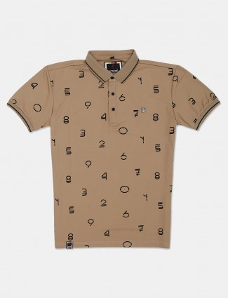 Stride brown printed polo t-shirt