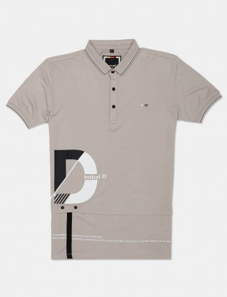 Stride casual wear beige cotton polo t-shirt