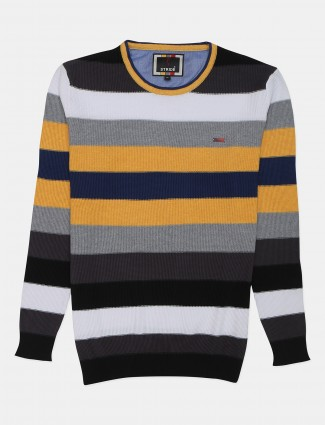 Stride casual wear yellow stripe knitted fabric t-shirt