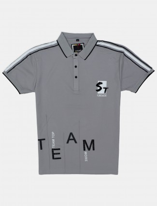 Stride grey printed cotton casual polo t-shirt