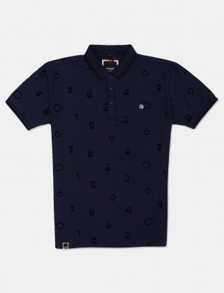 Stride navy printed casual wear polo t-shirt