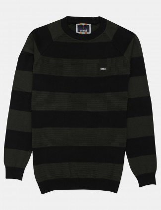 Stride olive and black stripe cotton casual wear t-shirt