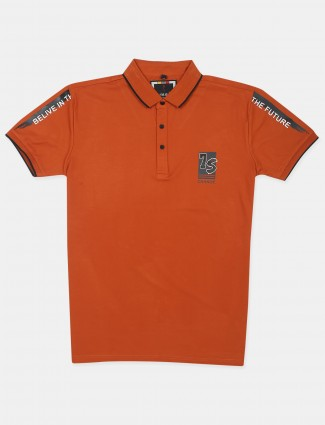 Stride orange printed cotton t-shirt for mens