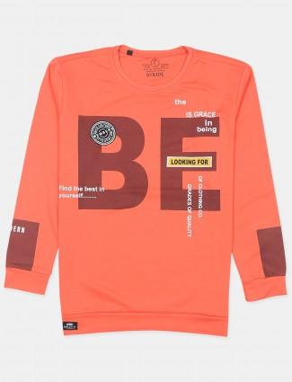 Stride orange smli fit cotton printed t-shirt
