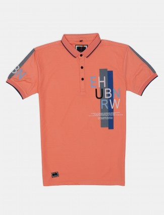 Stride peach cotton slim fit mens polo t-shirt