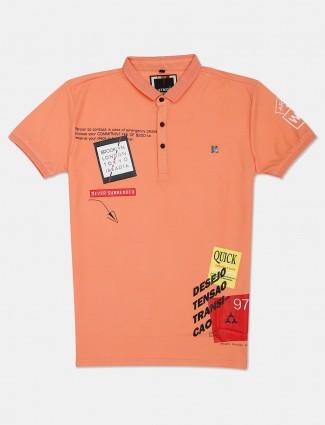Stride peach mens printed polo t-shirt