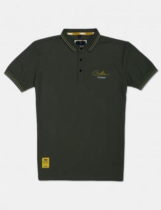 Stride printed dark green polo t-shirt