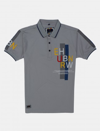 Stride printed grey cotton casual polo t-shirt