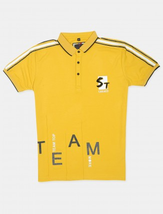 Stride printed yellow cotton slim fit t-shirt for mens