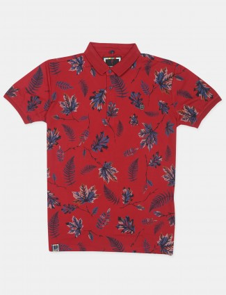 Stride red cotton printed t-shirt for mens