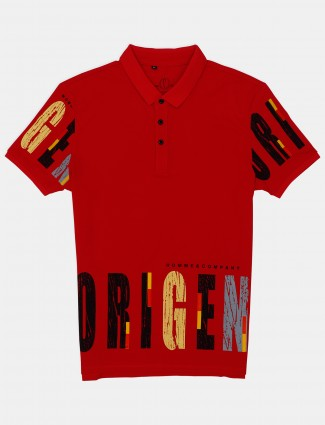 Stride red printed cotton casual wear polo t-shirt