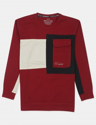 Stride red printed cotton t-shirt for mens