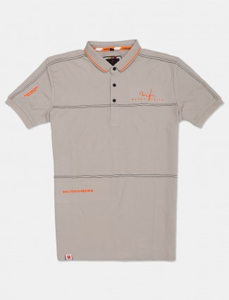 Stride solid beige polo t-shirt