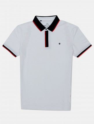 Stride solid white mens polo t-shirt