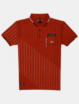 Stride stripe orange slim fit cotton polo t-shirt