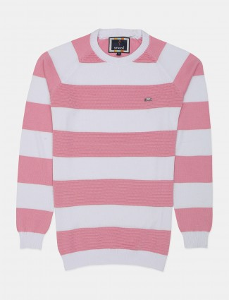 Stride stripe pattern white and pink casual t-shirt