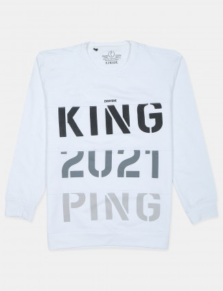Stride white casual wear t-shirt for mens