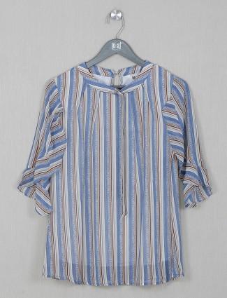 Stripe blue georgette casual top