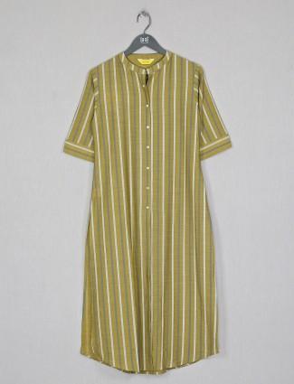 Stripe effective olive cotton casual wear kurti