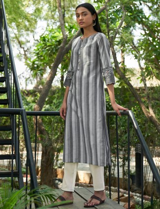 Stripe grey kurti for day to day look in cotton