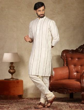 Stripe pattern white cotton kurta suit