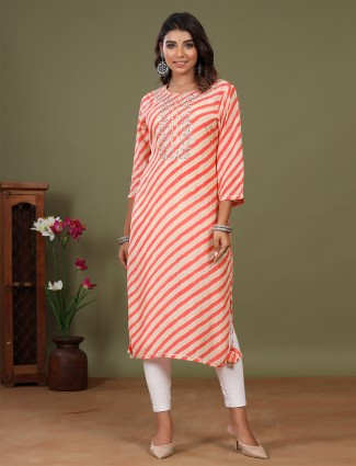 Stripe peach adorable kurti for day to day look in cotton