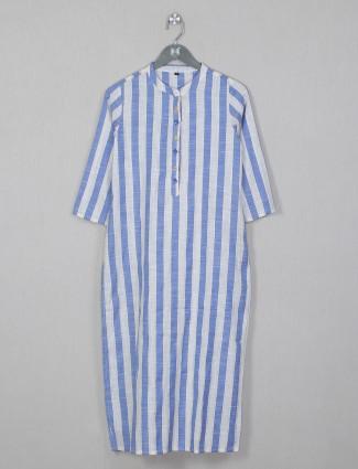Stripe style blue kurti for women in cotton