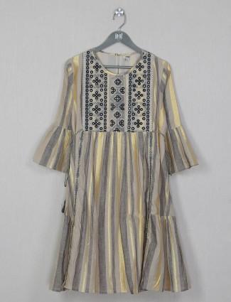 Stripe style grey shade cotton kurti for women