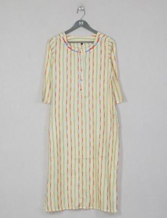Stripe style thread decorated yellow shade cotton kurti