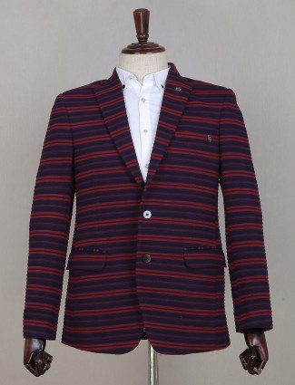 Striped style blazer for mens in terry rayon