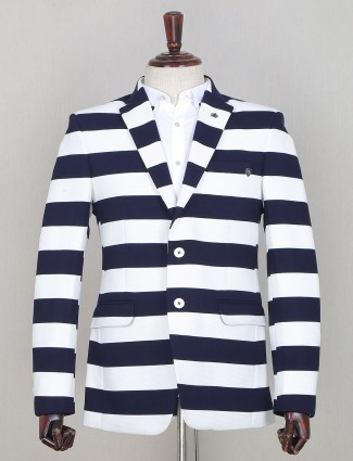 Striped style blue tint blazer in terry rayon