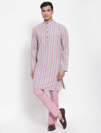 Striped style thread weaved pink kurta set for men
