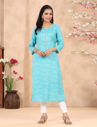 Stuning aqua cotton printed casual occasions kurti