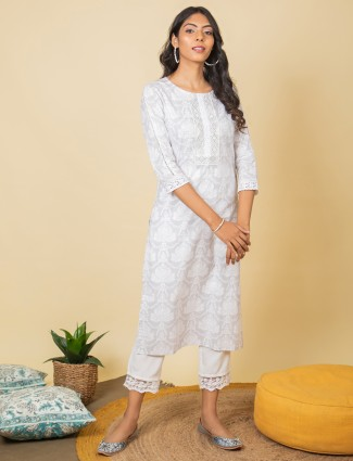 Stuning casual look grey printed pant suit in cotton