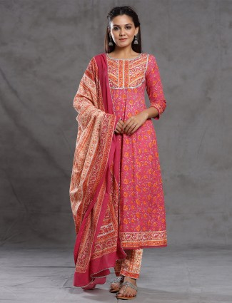 Stuning festive look punch pink printed pant suit in cotton