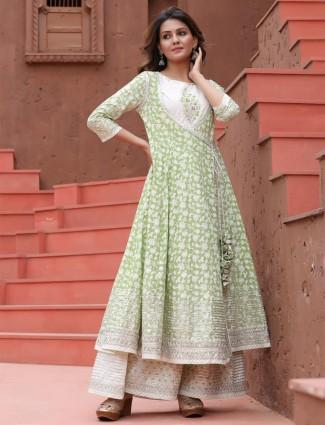 Stuning pista green cotton casual occasions printed kurti
