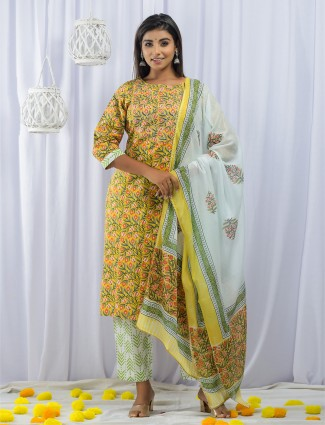 Stuning sunshine yellow festive wear pant suit in cotton