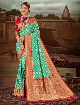 Stunning banarasi silk saree for wedding occasions in aqua